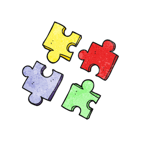 jig saw: freehand textured cartoon jig saw pieces