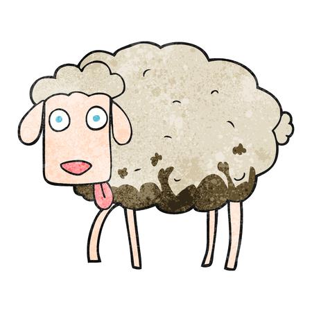 muddy: freehand textured cartoon muddy sheep