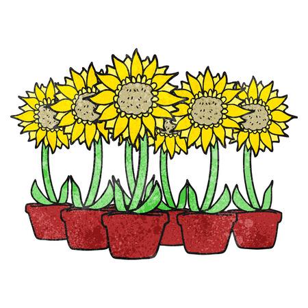 textured: freehand textured cartoon sunflowers Illustration