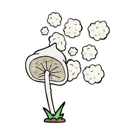 spores: freehand textured cartoon mushroom