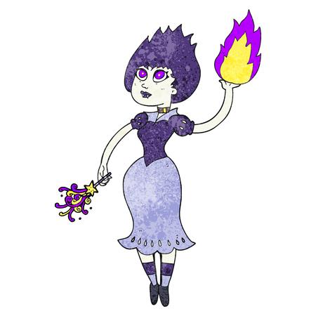 casting: freehand textured cartoon vampire girl casting fireball
