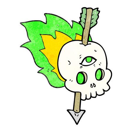 third eye: freehand textured cartoon magic skull with arrow through brain