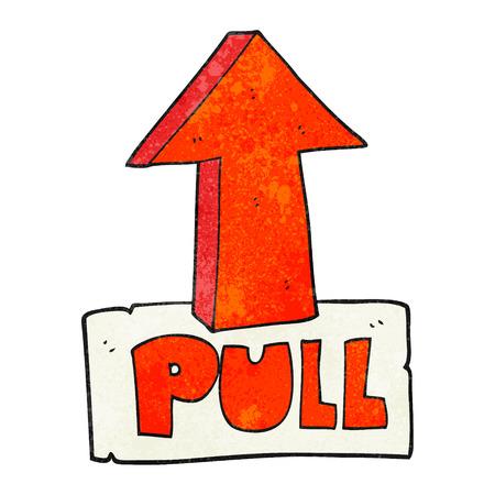 pull: freehand textured cartoon door pull sign