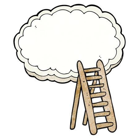 heaven: freehand textured cartoon ladder to heaven