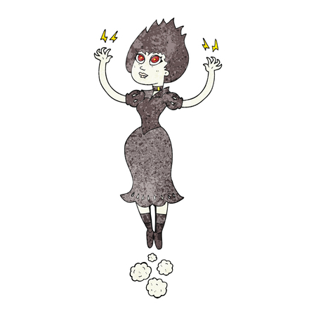 woman floating: freehand textured cartoon vampire girl flying