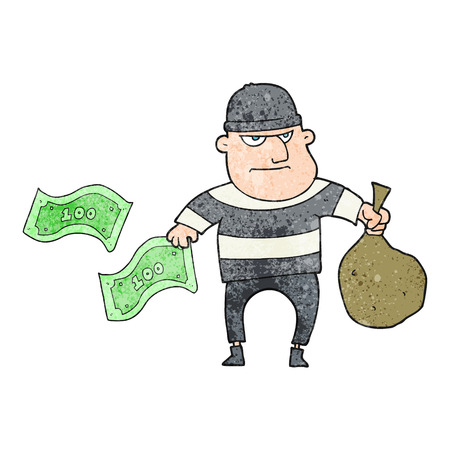 bank robber: freehand textured cartoon bank robber