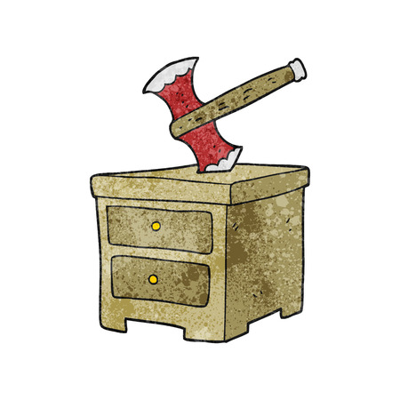 buried: freehand textured cartoon axe buried in chest of drawers