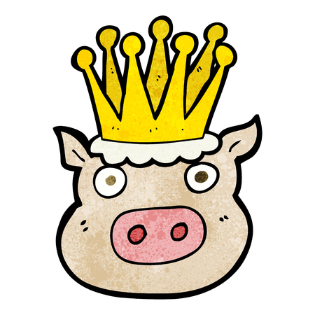 freehand textured cartoon crowned pig