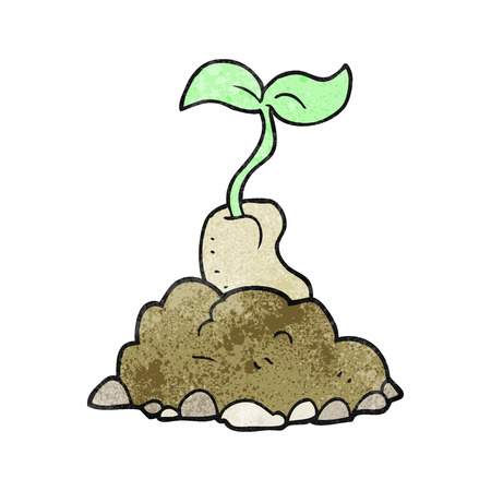 germinating: freehand drawn texture cartoon sprouting seed Illustration