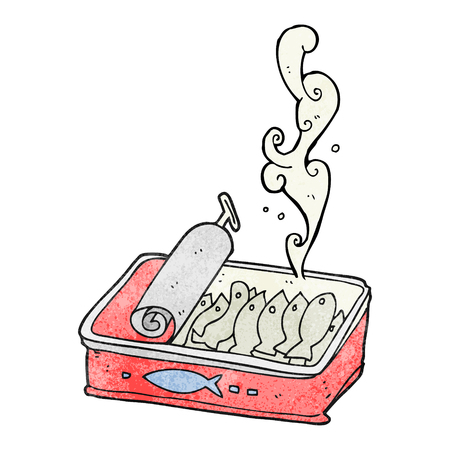 sardines: freehand textured cartoon can of sardines