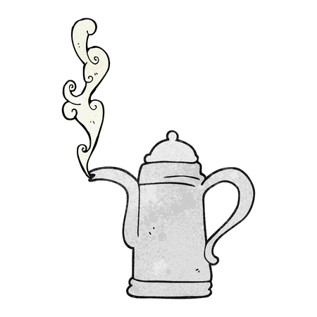 steaming: freehand textured cartoon steaming coffee kettle