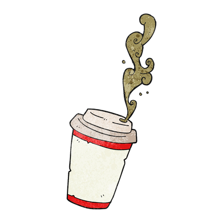 take out: freehand drawn texture cartoon take out coffee