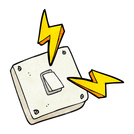 sparking: freehand textured cartoon sparking electric light switch Illustration