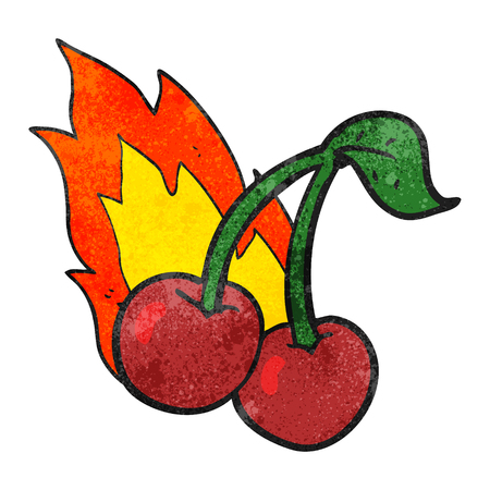 flaming: freehand drawn texture cartoon flaming cherries