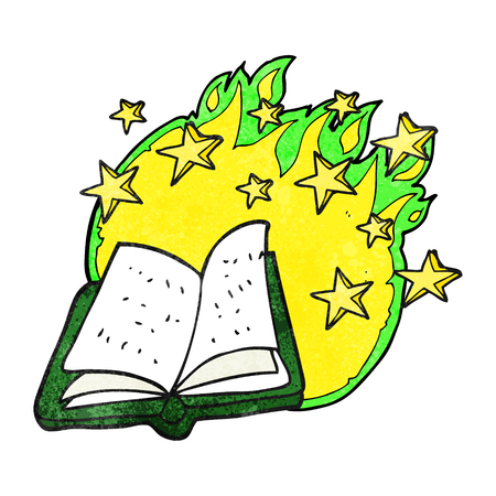 spell: freehand textured cartoon magic spell book