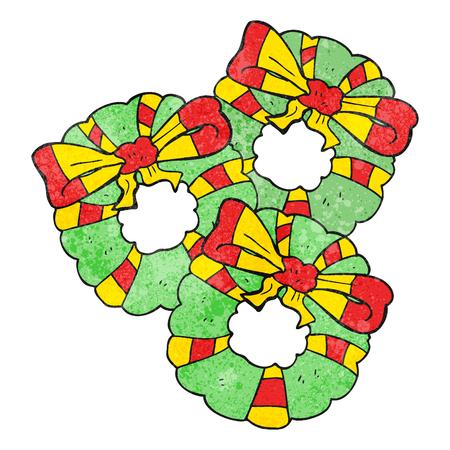coronas de navidad: a mano alzada con textura guirnaldas de Navidad de dibujos animados Vectores