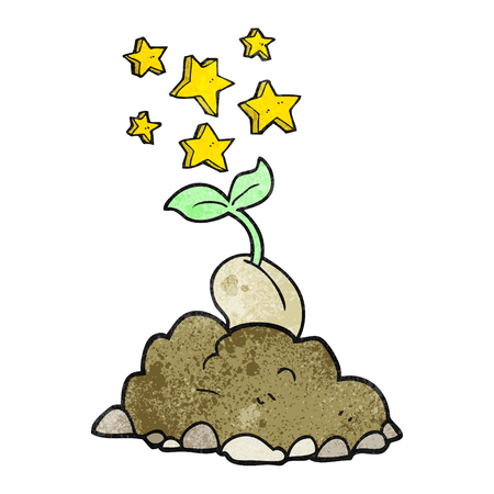 sprouting: freehand drawn texture cartoon sprouting seed Illustration