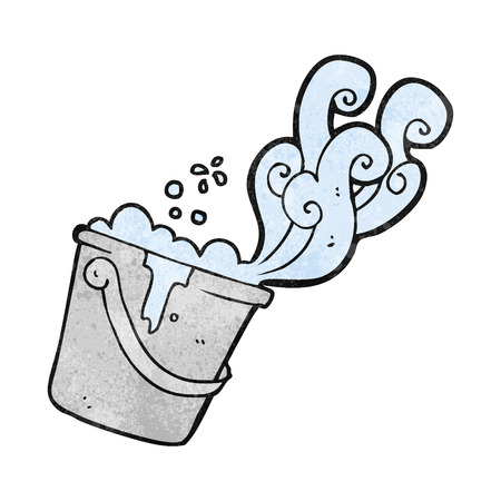 suds: freehand drawn texture cartoon cleaning bucket