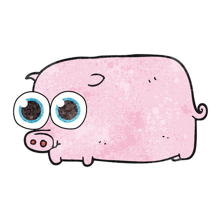 pretty eyes: freehand textured cartoon piglet with big pretty eyes