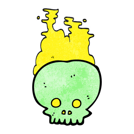 steaming: freehand textured cartoon steaming skull