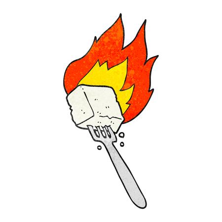 flaming: freehand drawn texture cartoon flaming tofu on fork