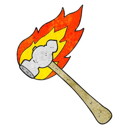 flaming: freehand drawn texture cartoon flaming hammer