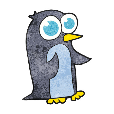 big eyes: freehand textured cartoon penguin with big eyes