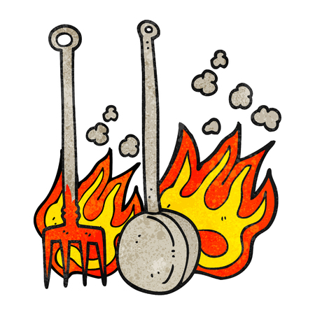 fireside: freehand drawn texture cartoon hot fireside tools