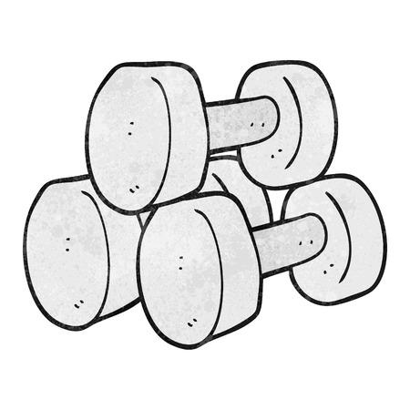 freehand textured cartoon dumbbells Vector Illustration