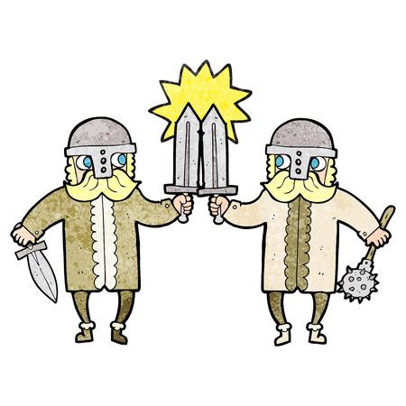 saxon: freehand textured cartoon viking warriors