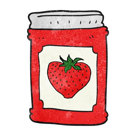 jam jar: freehand textured cartoon strawberry jam jar