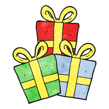christmas gifts: freehand textured cartoon christmas gifts