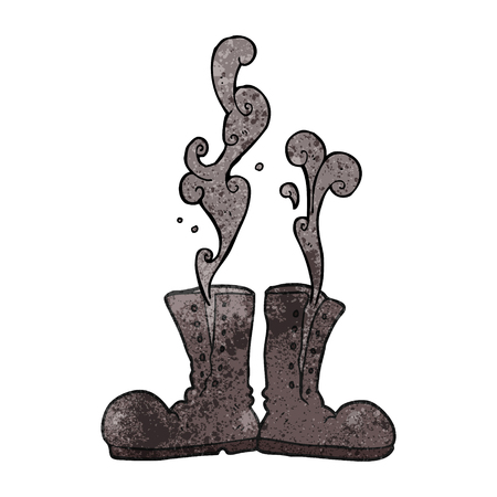 army boots: freehand textured cartoon steaming army boots