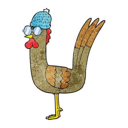 wearing spectacles: freehand textured cartoon chicken wearing spectacles and hat