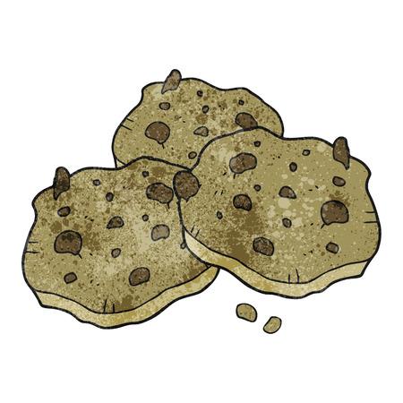 chocolate chip: freehand drawn texture cartoon chocolate chip cookies