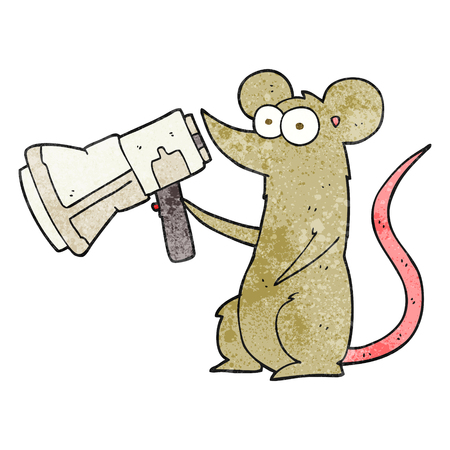 loudhailer: freehand drawn texture cartoon mouse with megaphone Illustration