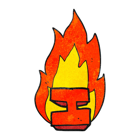 flaming: freehand drawn texture cartoon flaming letter I