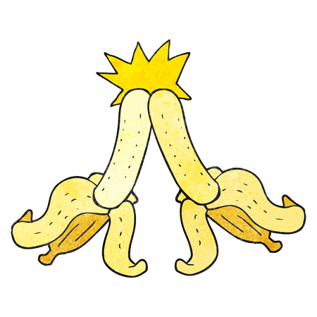 embarrassing: freehand drawn texture cartoon embarrassing magic banana touch Illustration