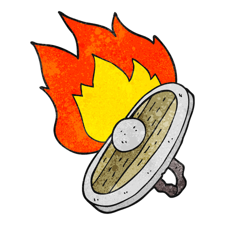 burning: freehand drawn texture cartoon shield burning Illustration