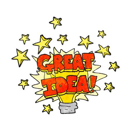 great idea: freehand drawn texture cartoon great idea light bulb symbol Illustration
