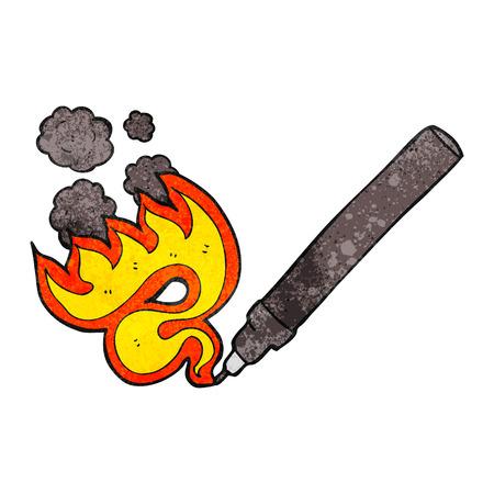 flaming: freehand drawn texture cartoon flaming pen