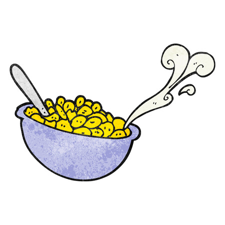 cereal bowl: freehand drawn texture cartoon bowl of cereal Illustration