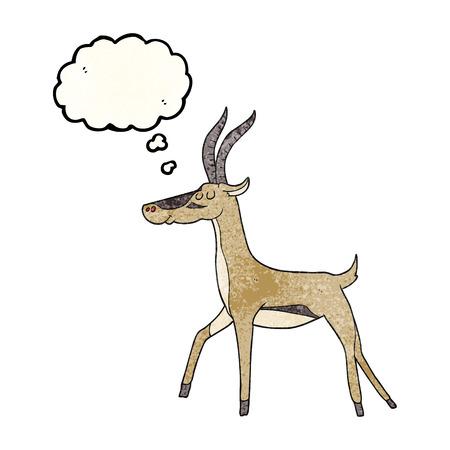 gazelle: freehand drawn thought bubble textured cartoon gazelle
