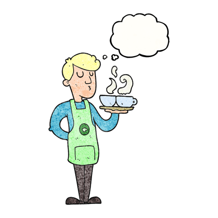 barista: freehand drawn thought bubble textured cartoon barista serving coffee Illustration