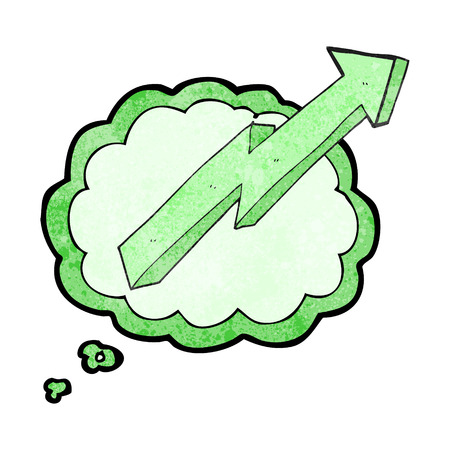 positive thought: freehand drawn thought bubble textured cartoon arrow up trend