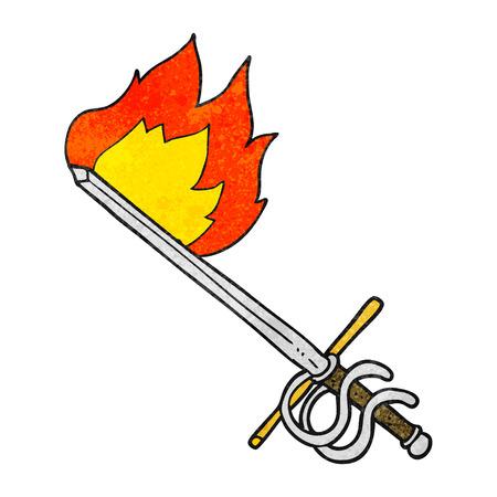 flaming: freehand drawn texture cartoon flaming sword