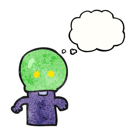 alien clipart: freehand drawn thought bubble textured cartoon little alien