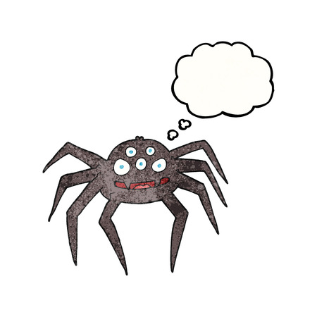 tarantula: freehand drawn thought bubble textured cartoon spider