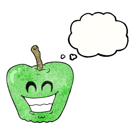 apple clipart: freehand drawn thought bubble textured cartoon grinning apple