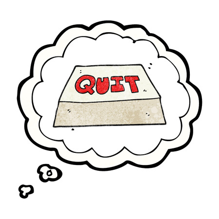 quit: freehand drawn thought bubble textured cartoon quit button Illustration